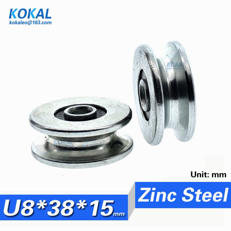 8x22x7 U GROOVE 608 2rs GUIDE PULLEY TRACK ROLLER WHEEL BEARINGS SELECT COLOUR