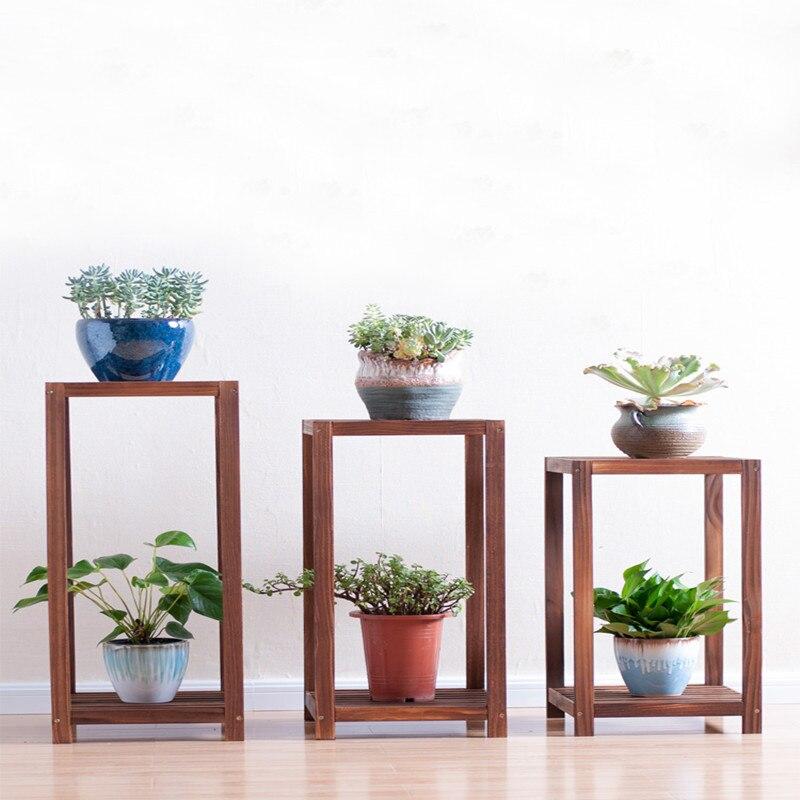 Landing Type Indoor Multi-storey Solid Wood Style Airs Balcony Living Room Iron Art Of Shelf Flowerpot Frame