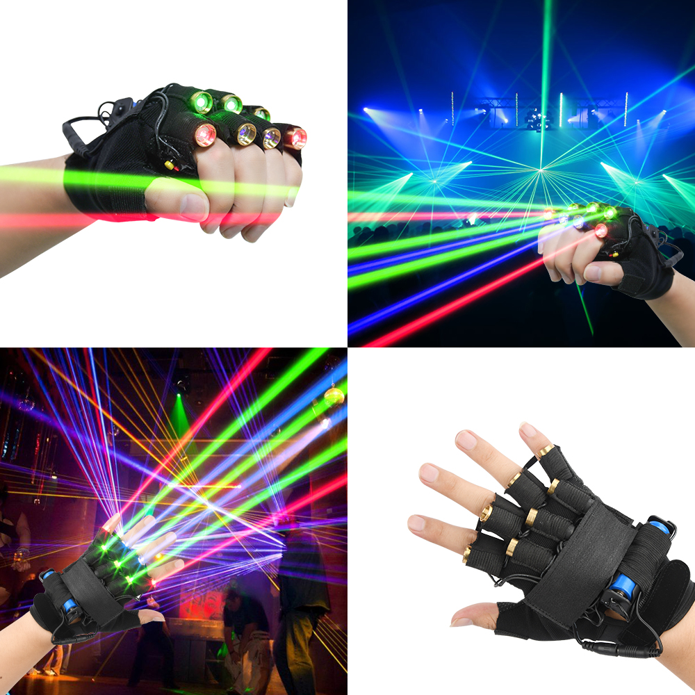 3 Green 2 Red 2 Purple 7 Lasers Gloves Dancing Stage Gloves Laser Palm Light For DJ Club/Party/Bars Finger Light Personal Props