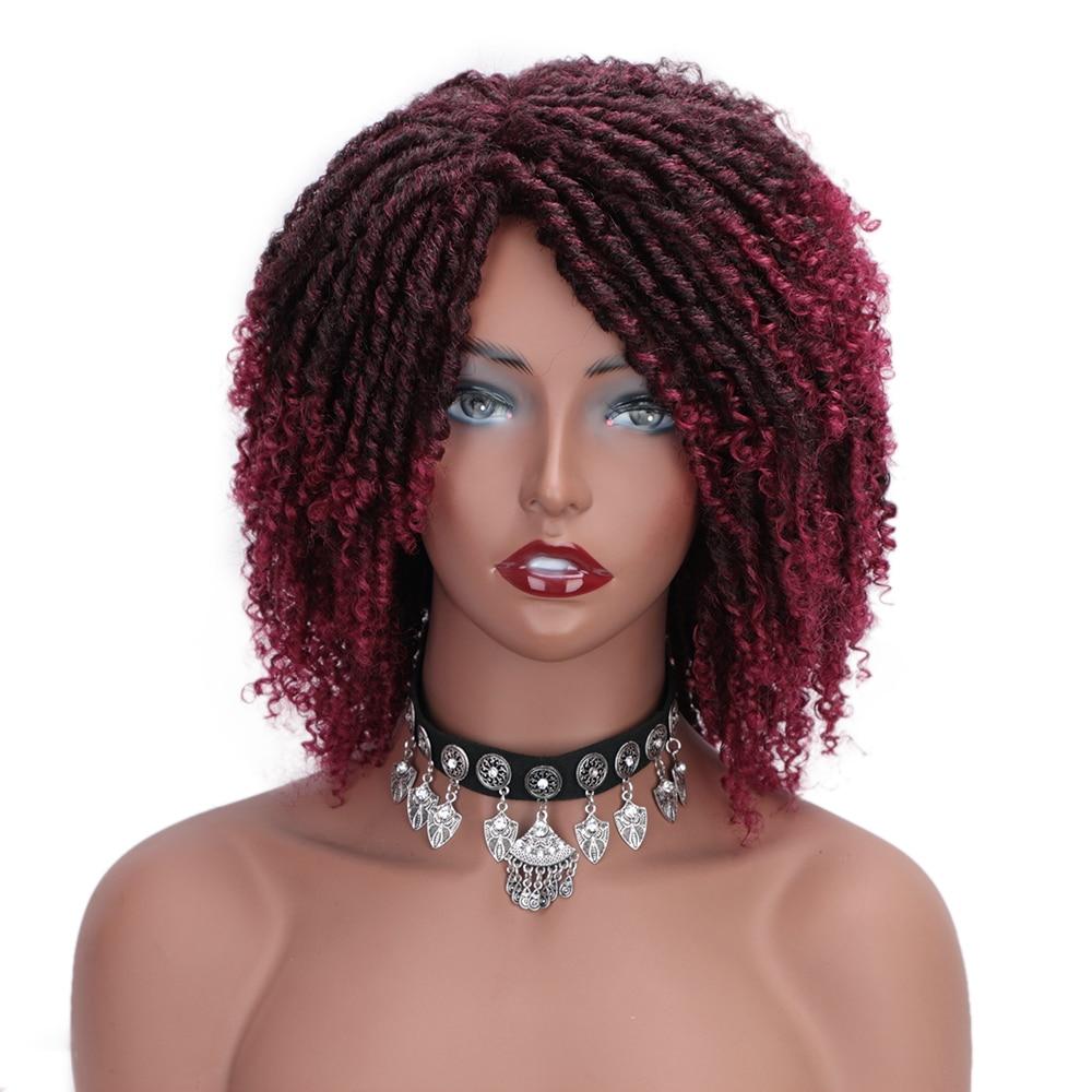 Soft Dreadlock Ombre Burg Wigs 6inch Short Synthetic Wigs For Black Women High Temperature Fiber Faux Locs Crochet Twist Hair