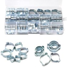 80Pcs/Set Hose Clamp Double Ears Clamp 5-20mm Worm Drive Fuel Water Hose Pipe Clamps Clips Hose Fuel Clamps Kit