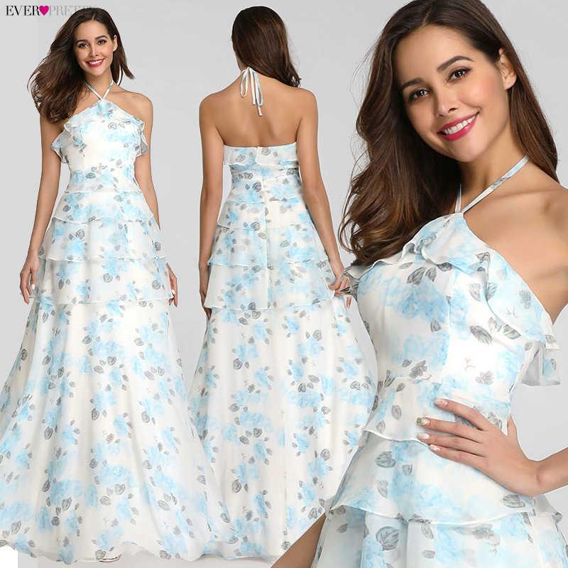 BATA De Soiree siempre bonito Vestido De playa EP07242 elegante una línea Floral estampado Vestido largo Vestido De noche De verano Boho Vestido de Fiesta