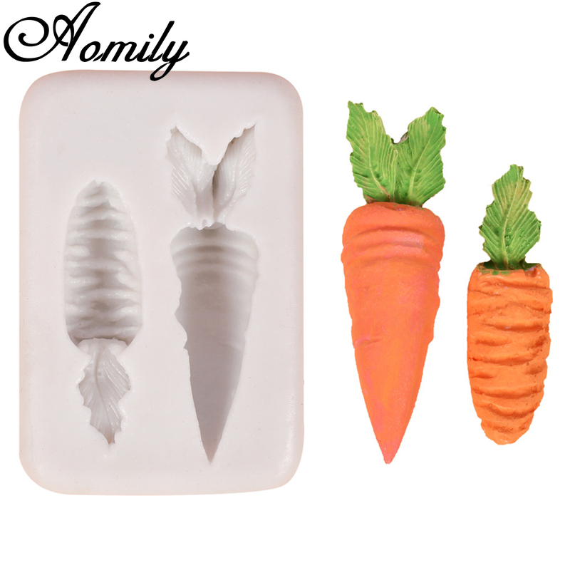 Aomily 2 Holes Carrot Shaped Silicone Molds Handmade Fondant Cake Mold Sugar Craft Chocolate Moulds Tools Ice Block Soap Mould