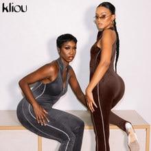 Kliou – combinaison en Patchwork avec fermeture éclair sur le devant pour femme, tenue moulante, sans manches, Streetwear actif, Slim, une pièce, tendance