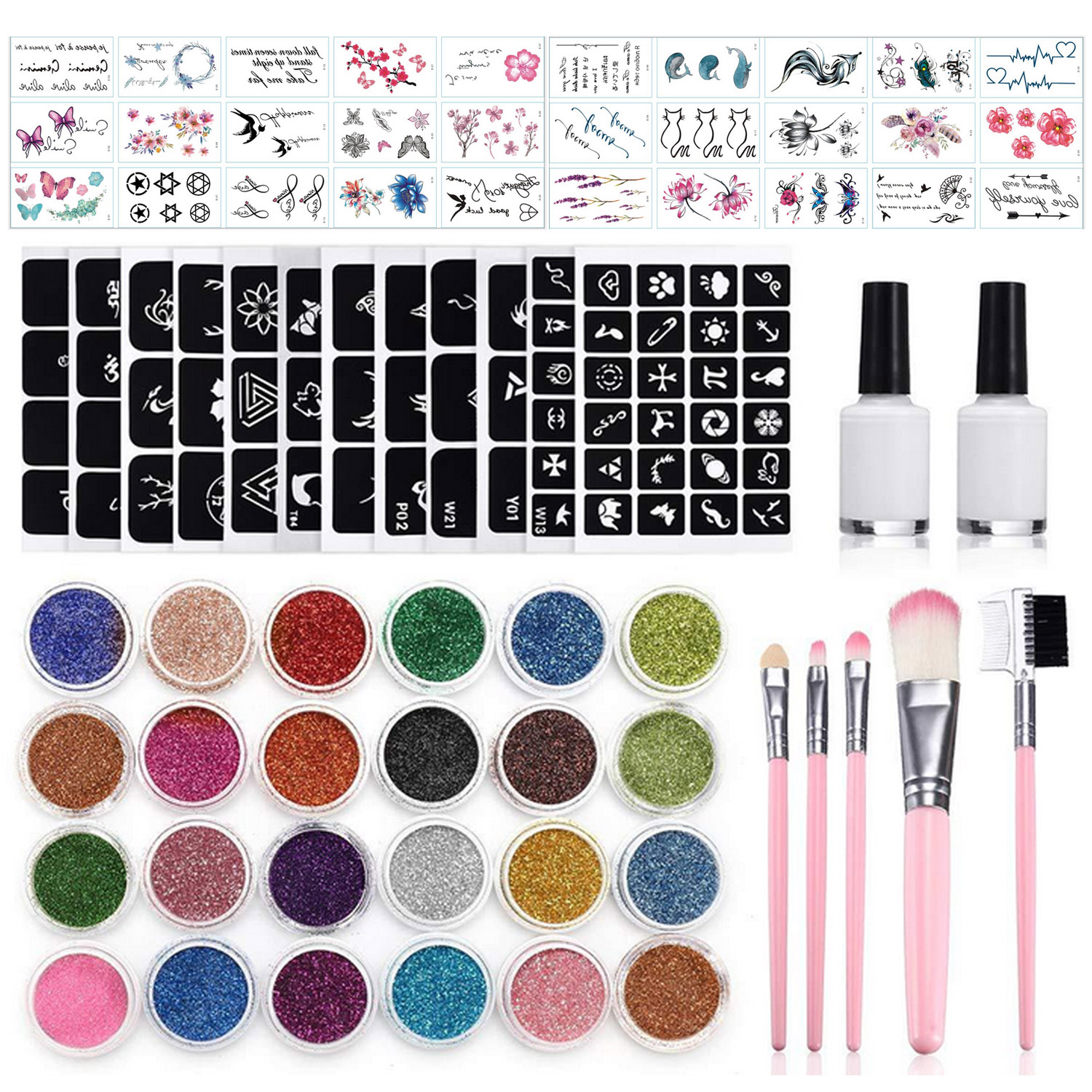 182pcs Glitter Tattoo Set 24 Colors 30 Uniquely Themed Temporary Stickers 120 Patterns Hollow Mold For Kids Teens Adult