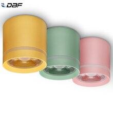 [DBF] 마카롱 알루미늄 LED 천장 조명 Dimmable 7W 10W 12W 표면 탑재 LED 천장 스포트 라이트 바 주방 AC85 265V