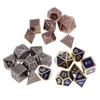 21Pcs Blue&Bronze&Copper Alloy Dice Set D4 D20 TRPG Die for MTG Fun Toy Set