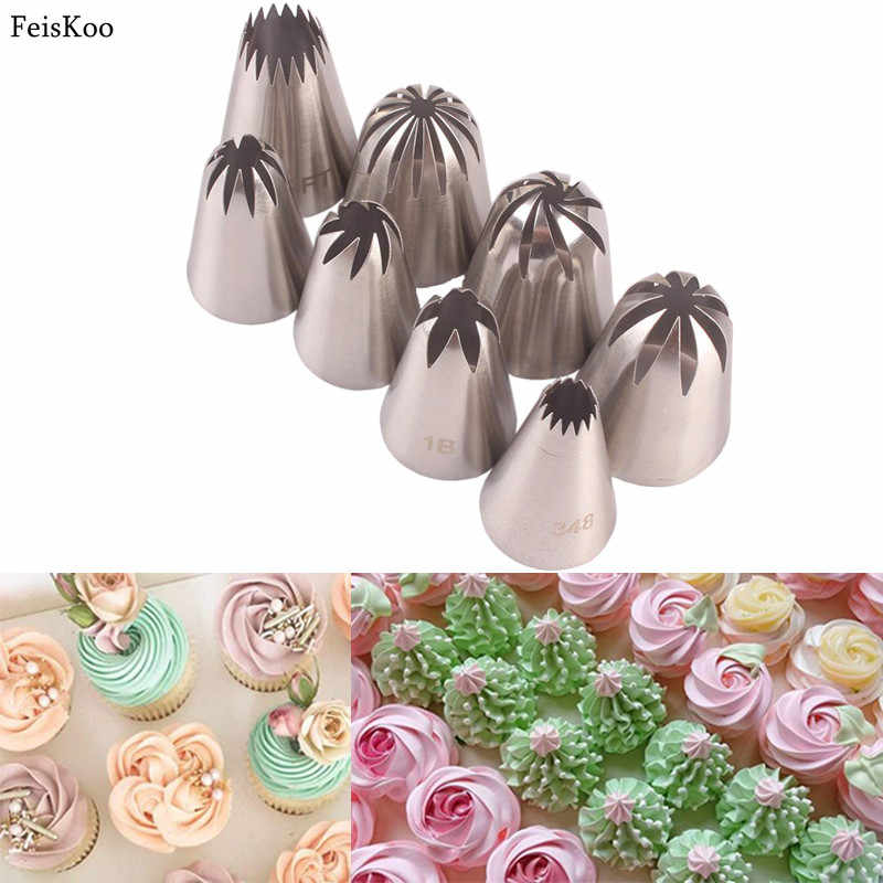 New Stainless Steel Pastry Nozzles 8pcs Large Icing Piping Nozzles Cake Decorating Tips Set for Cakes Cupcakes Cookies Pastry