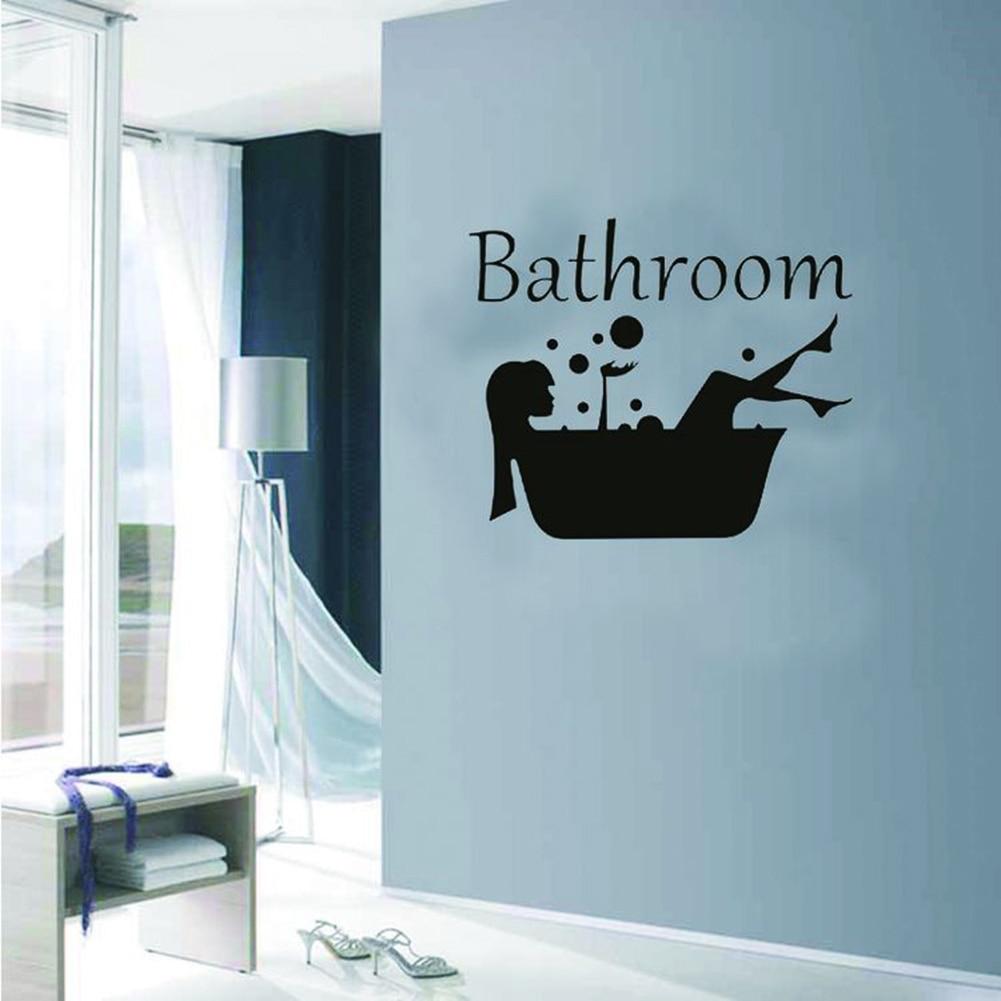 New Arrival Lady Bathtub Wall Sticker Home Bathroom Door Removable Decal Art Mural Decor