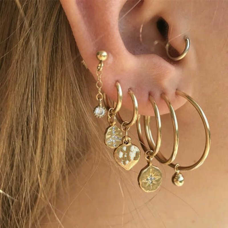 New Fashion Jewelry Gold Geometric Peace Star Sequin Earrings Ladies Aretes Women Fashion Large Design Pendant Earrings Set