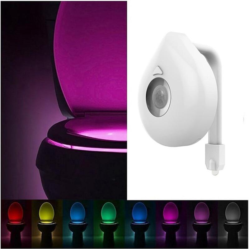 16 Colors Smart PIR Motion Sensor Toilet Seat Night Light Waterproof Backlight For Toilet Bowl Luminaria Lamp WC Toilet Light