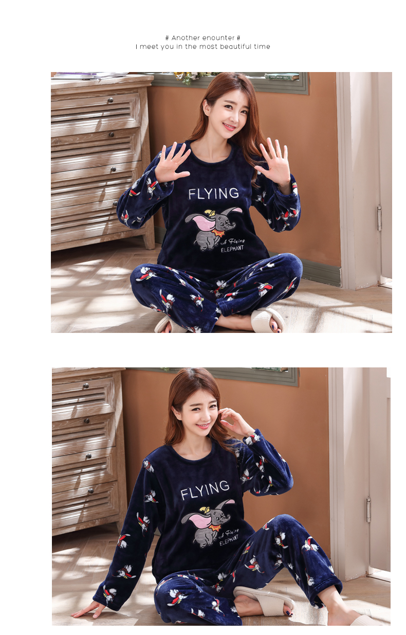 Long Sleeve Warm Flannel Pajamas Winter Women Pajama Sets Print Thicken Sleepwear Pyjamas Plus Size 3XL 4XL 5XL 85kg Nightwear 372