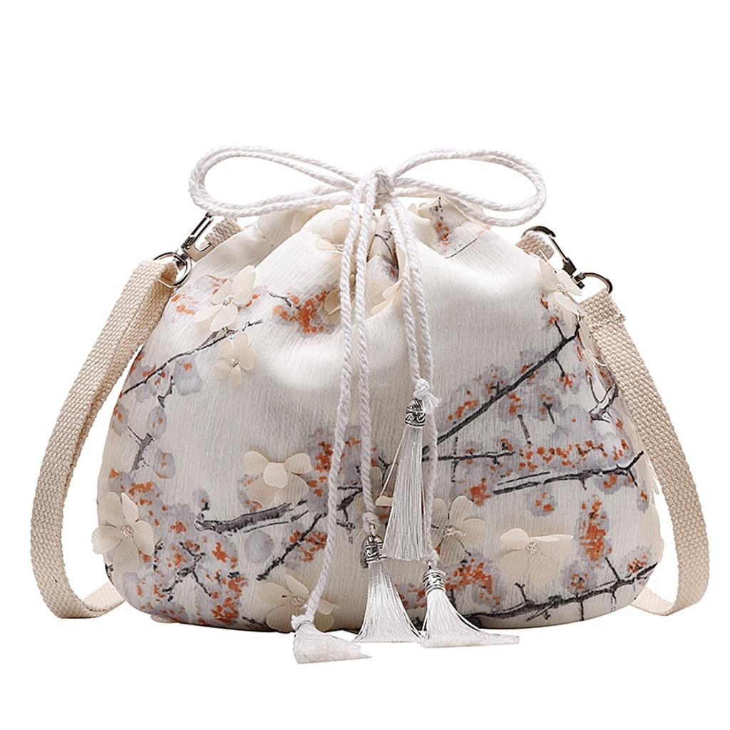 Fashion Bag Women Solid Drawstring Messenger Bags Versatile Lace Bag One Shoulder Open Pocket Dumplings Cylindrical Backpage