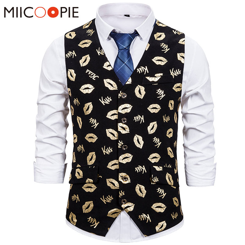 Mens Suit Vest Steampunk Waistcoats Gold Bronzing Kiss Lip Printed Casual Formal Business Groomman For Wedding Costumes Homme