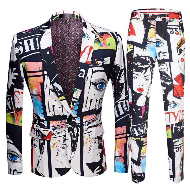 Tide Mens Fashion Print 2 Pieces Set Casual Suits Plus Size Hip Hot Male Slim Fit Suit Men Singer Wedding Costume