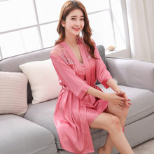 Spring Summer New High End Women'S Sexy Long Sleeved Imitation Silk Nightgown Two Piece Pajamas Silk Pullover Home Wear Халат(China)