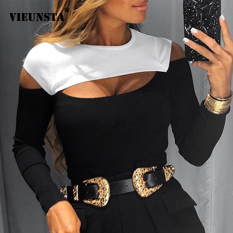 Sexy Off Shoulder Cut Off Patchwork Spring Shirts 2020 Women Hollow Out O Neck Elegant Blouse Autumn Long Sleeve Rib Tops Blusas