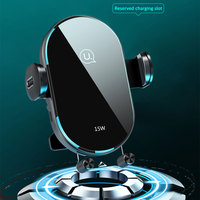 USAMS Wireless Phone Charging Car Holder Automatic Coil Induction Clamp 15W Fast Charge Air Vent Phone Holder Mount  For Iphone Samsung Huawei Xiaomi