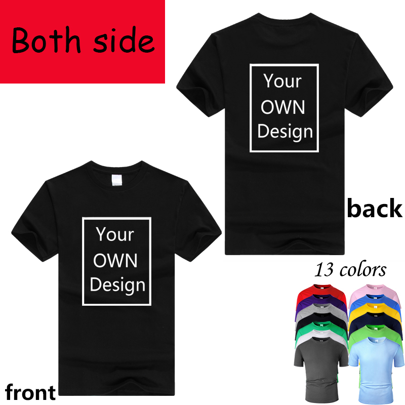 T-Shirt Short-Sleeve Your-Own-Design Two-Side-Logo/picture Custom Men Cotton Women Casual