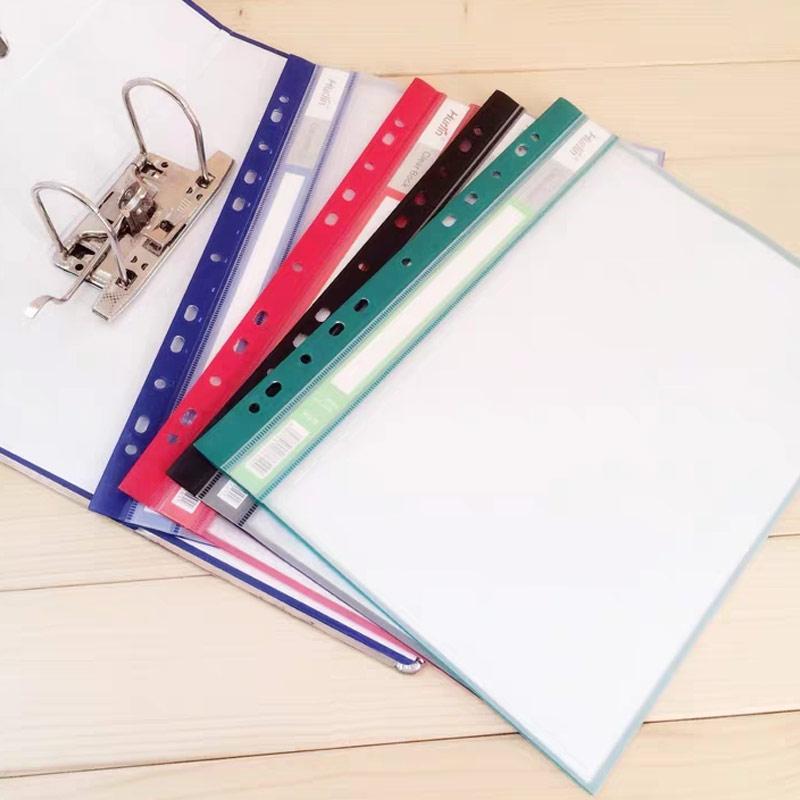 20/30 Sheets/Set Colorful Plastic Punched Pockets A4 11Holes Loose Leaf Documents Sheet Protectors Transparent Clear Folder Bag