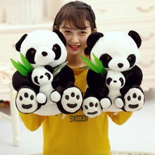 Cartoon Lifelike Chinese Panda Mother And Son With Baby Plush Kids Dolls Soft Hold Pillow Stuffed Toy For children Girls(China)