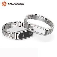 Cinturino in metallo braccialetto di ricambio per xiaomi mi banda 2 in acciaio inox cinghia di smart watch accessori mi fascia 2 wristband