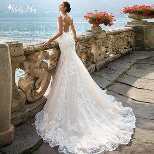 Image 1 - Adoly Mey Romantic Scoop Neck Tank Sleeve Mermaid Wedding Dresses 2020 Luxury Appliques Court Train Vintage Bride Gown Plus Size
