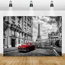 Laeacco Berühmte Wahrzeichen Fotografie Hintergründe Paris Eiffelturm Straße Auto Mode Kulissen Retro Porträt Photophone Requisiten