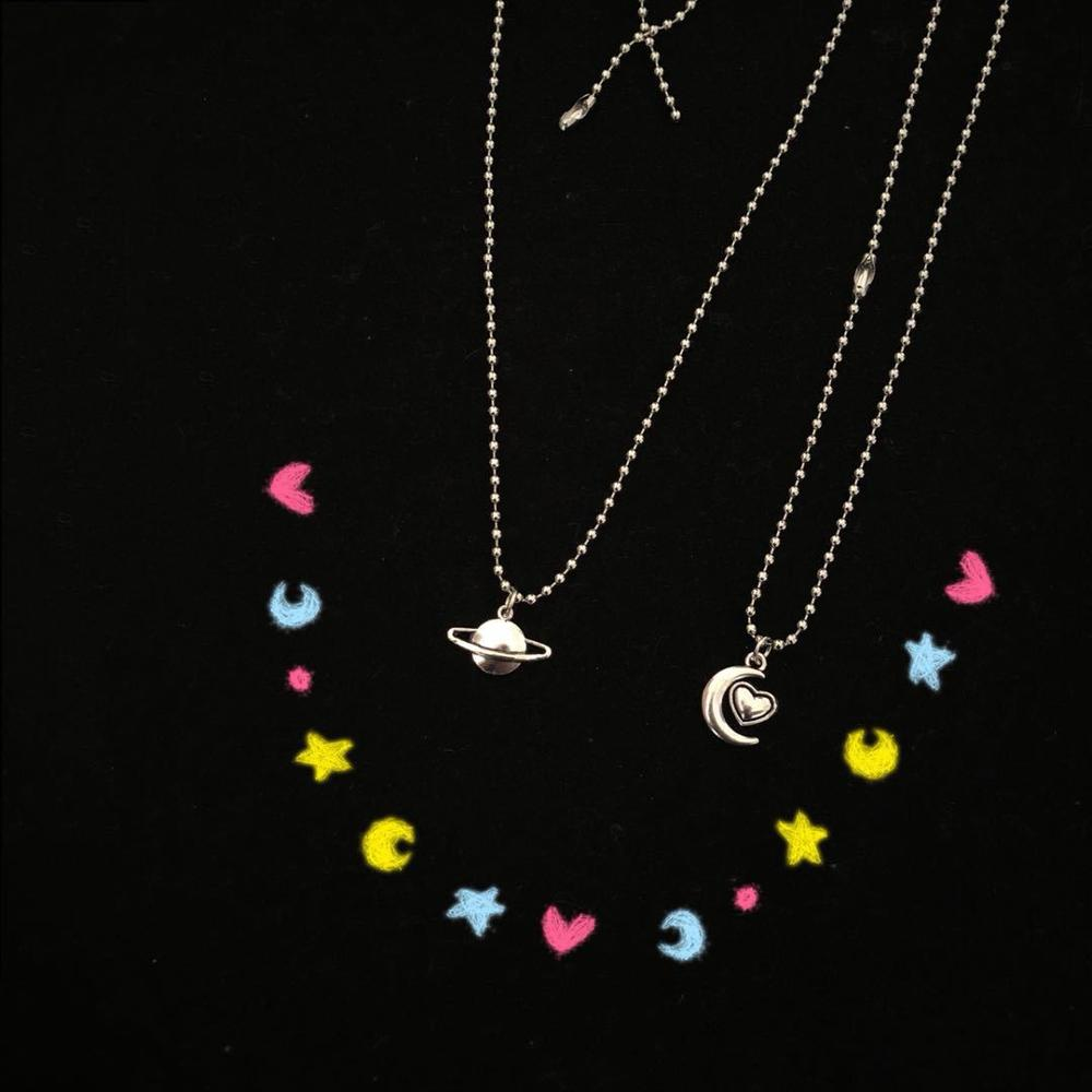 Cool Silver Planet Moon Pendant Stainless Steel Necklace Long Chain Jewelry Sweetheart Man Friendship Gifts