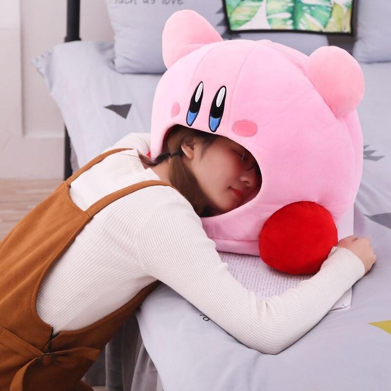 Kirby Plush Soft Sleep Pillow Cap Kawaii Anime Game Kirby Sleep Pillow Cushion Soft Pet House Doll Toys