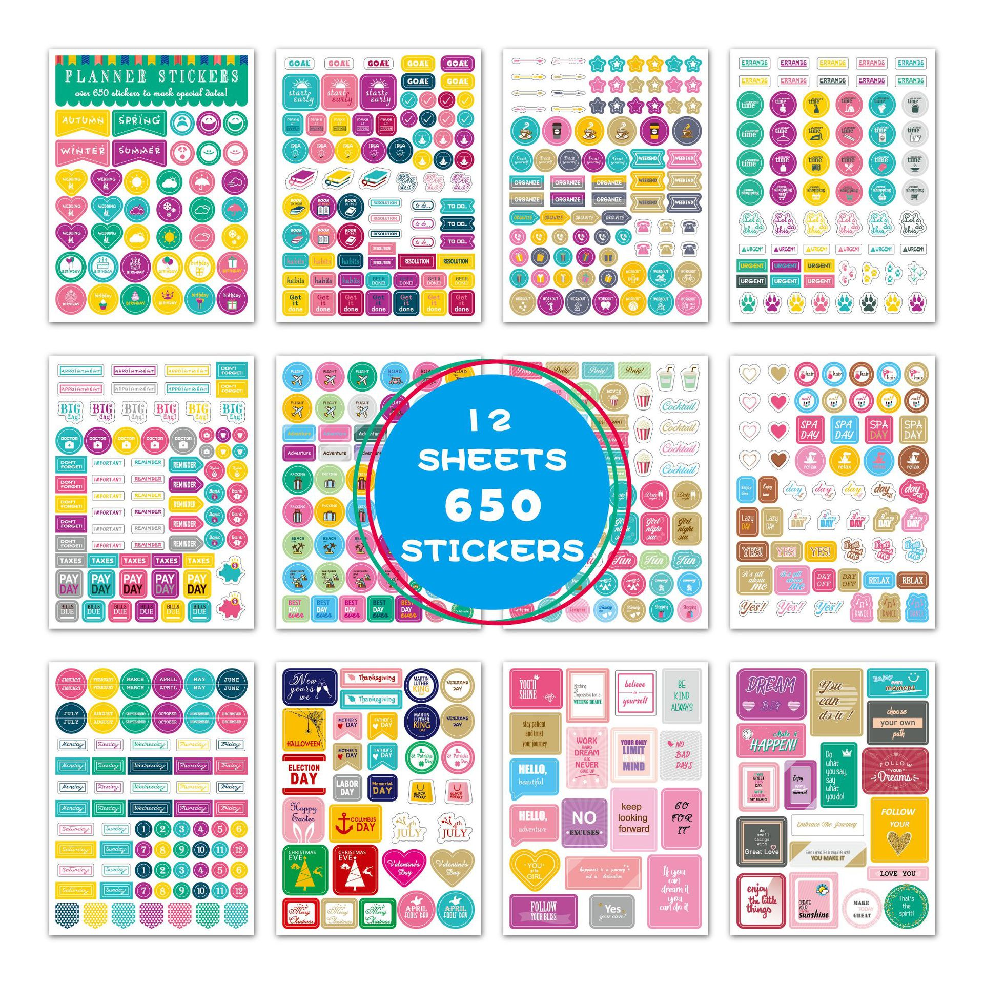12 Sheets 650Pcs Kawaii Sticker Diary Planner Stickers Sticky Notes Papeleria Stationery Paper Sticker Decoration Scrapbooking