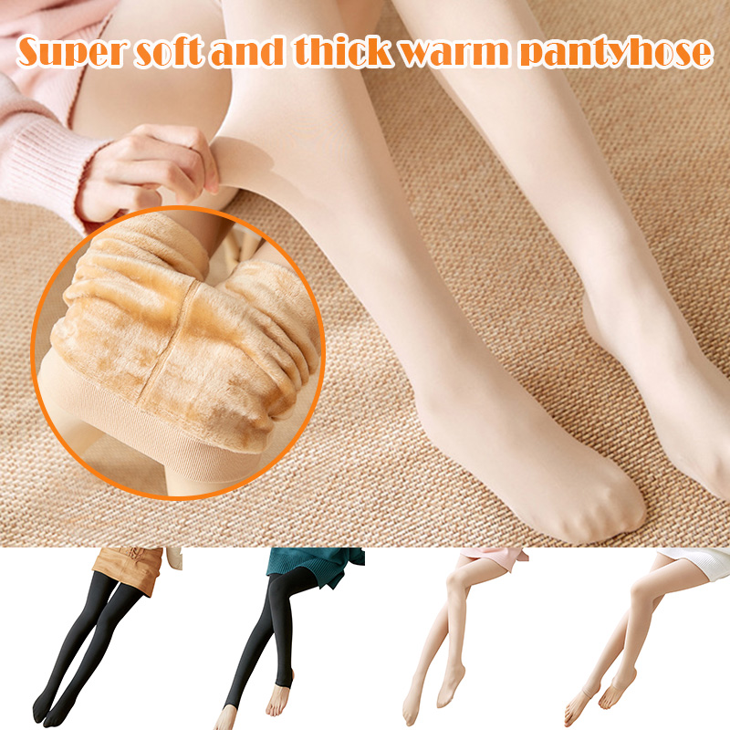 Legs Fake Translucent Warm Fleece Pantyhose Women Soft Leggings Fleece Lined Thick Leggings TH36