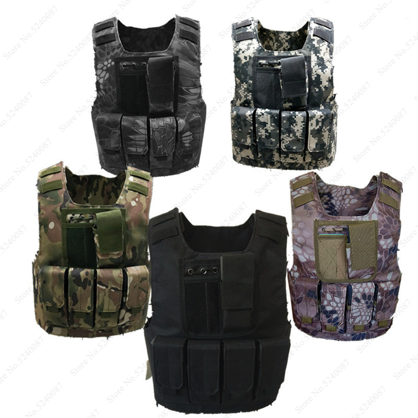 Kids Camouflage Tactical Bulletproof Vests Military Uniforms Combat Armor Army Soldier Equipment Special Forces Cosplay Costumes image