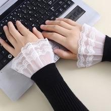 Sweater Flared-Sleeves Korean Wrist-Warmers False-Cuffs Girls Women Lace Fake 1-Pair