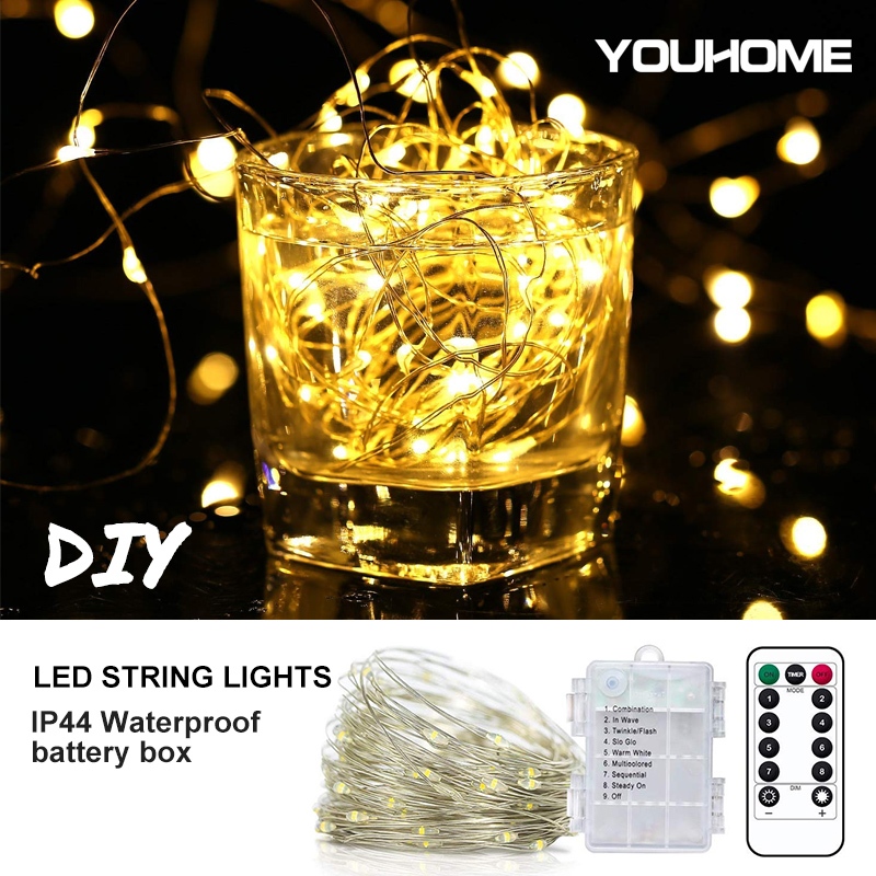 Waterproof 8 Modes LED String Light 5m 10m 20m Copper Wire Battery Operated Remote Control For Garden Wedding Decor Lighting