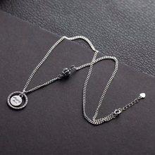 ANENJERY 925 argent Sterling Alphabet carte ronde couronne collier pour les femmes Vintage Thai argent collares fête bijoux S-N519