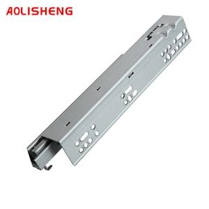 Image 4 - AOLISHENG выдвижной ящик с нижним креплением, потайные двухсекционные мягкие закрывающие слайды для кухонного шкафа