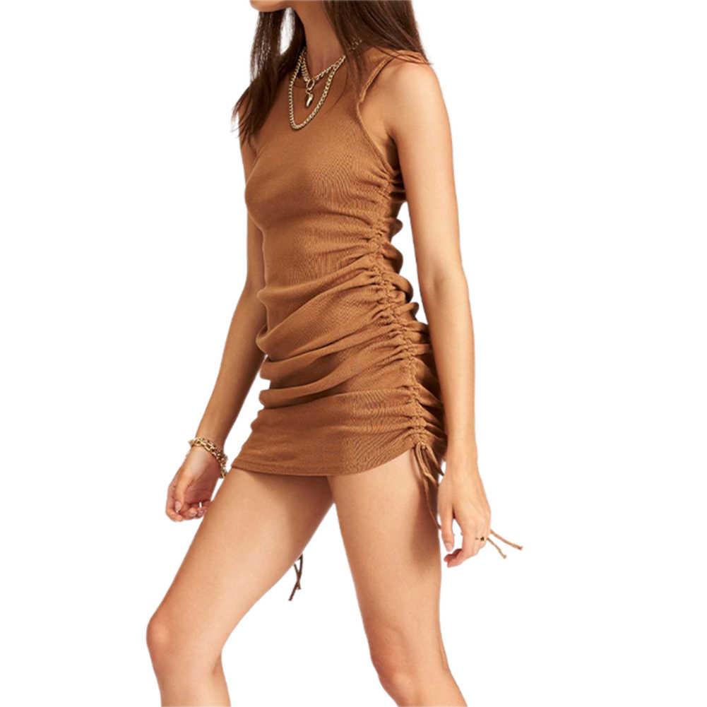 新ファッション女性レディース夏ビーチカジュアルノースリーブシャーリングドレスストレッチボディコンミニドレス