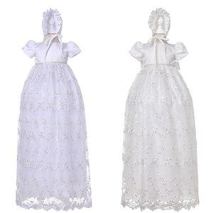Vestido de 1er año de cumpleaños con sombrero vestidos Maxi vestido blanco de bautismo de bebé