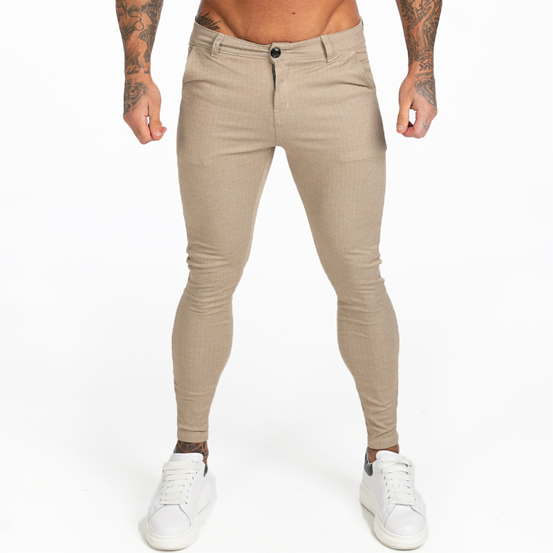 GINGTTO 2019AW Mens Chinos Slim Fit Khaki Chinos Trousers For Men Stretchy Pants Casual Ankle Tight Fit Street Fashion Zm376