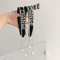 Rhinestone tassel back-hanging headbands fashion hair accessories women's diamond-studded shiny wide-brimmed headband hair bands