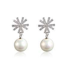 Fashion New Style Snow Pearl Drop Earrings S925 Sterling Silver Zircon Sunflower Dangle Earing 2019 Statement