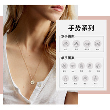 Simple Golden Round Pendant 316L Stainless Steel Necklace Engraved Gesture Wholesale Single Hole 13MM