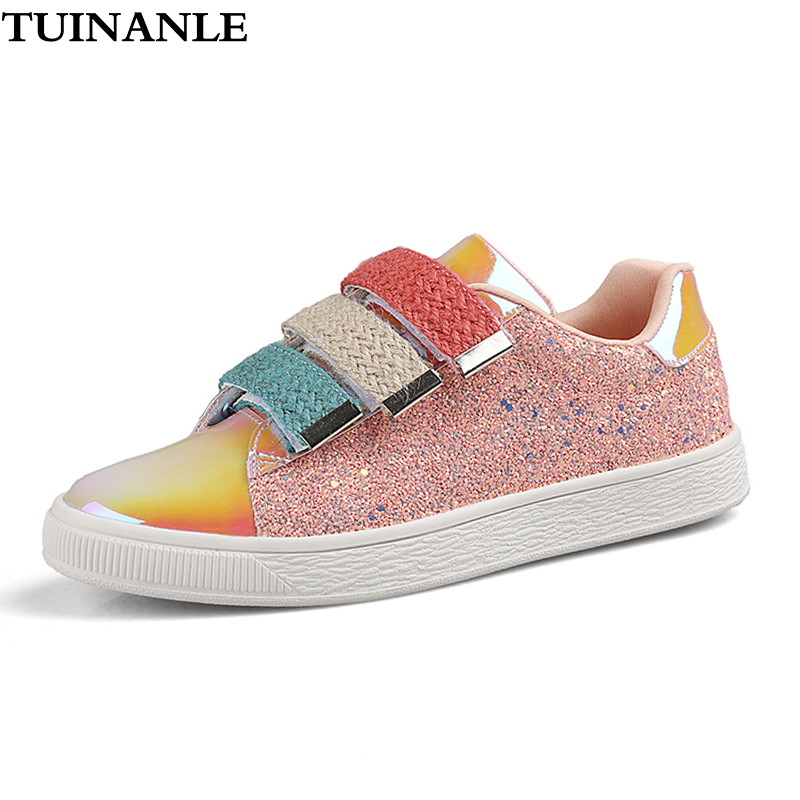 TUINANLE Sneakers Women 2020 Fashion Symphony Vulcanized Shoes Bling Breathable White Sneakers Purple Size 41 Zapatillas Mujer