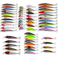 56Pcs/Lot Almighty Mixed Fishing Lure Bait Set Wobbler Minnow Hard Baits Spinners Carp Fishing Tackle