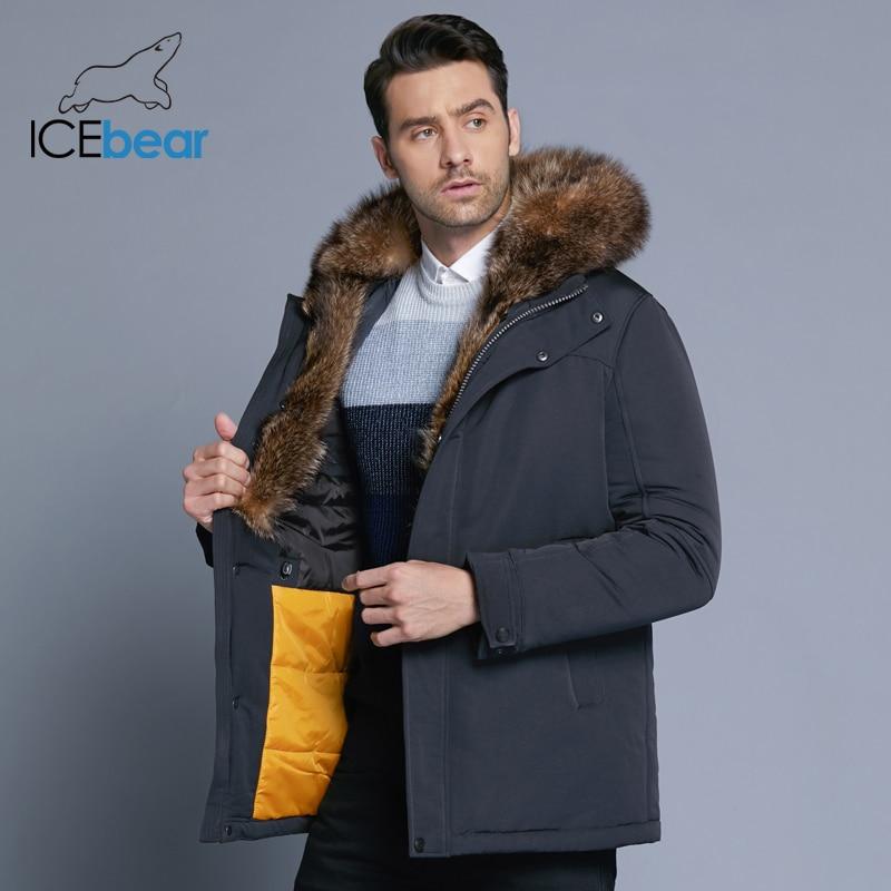 ICEbear 2019 novo revestimento dos homens de alta qualidade gola de pele de inverno casacos à prova de vento casacos quentes roupas casaco do homem ocasional MWC18837D