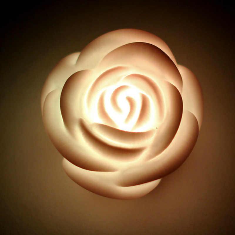 1pc romantique jolie Rose fleur forme lumière LED coloré lampe veilleuses Design d'intérieur sept couleurs changeantes