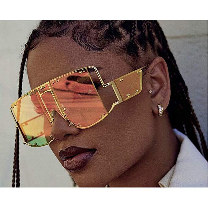 Super-Futuristic-Oversize-Shield-Visor-Sunglasses-Flat-Top-Mirrored-Mono-Lens-Fashion-Lady-Metal-Frame-rivet