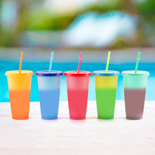 5pcs/set Plastic Temperature Change Color Cups Reusable Color Changing Coffee Mugs Water Bottles With Straws Set 700ML set mugs lefard 350 ml 7 items with stand