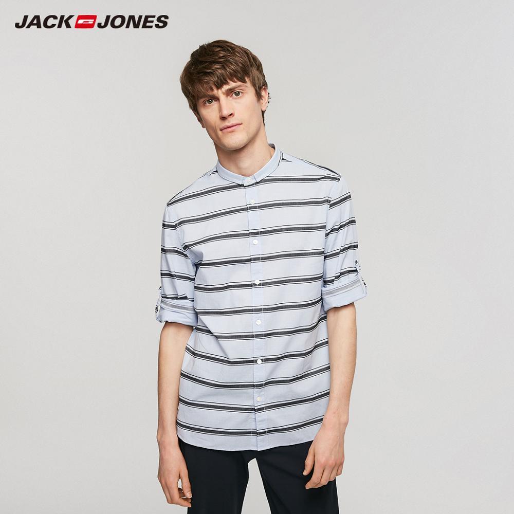 JackJones Men's Casual 100% Cotton Striped 3/4 Sleeves Shirt Basic Menswear  219131514